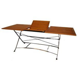 Table rectangulaire pliante Teck fer forgé MEDICIS - Achat ...