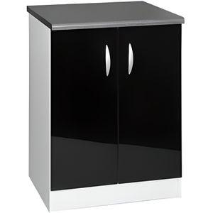 ELEMENTS BAS Meuble cuisine bas 60 cm 2 portes OXANE noir