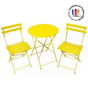 Salon de jardin pliant jaune 2 places - Achat / Vente salon ...