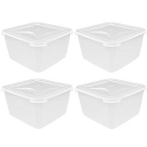 3 Pack Uni 80 L WHAM Boîte de Rangement avec roulettes et pliable couvercle en plastique transparent