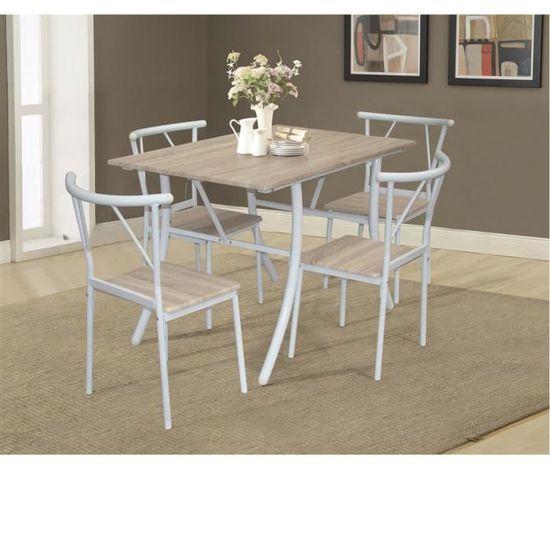 Table salle à manger + 4 chaises beige - Achat / Vente table ...