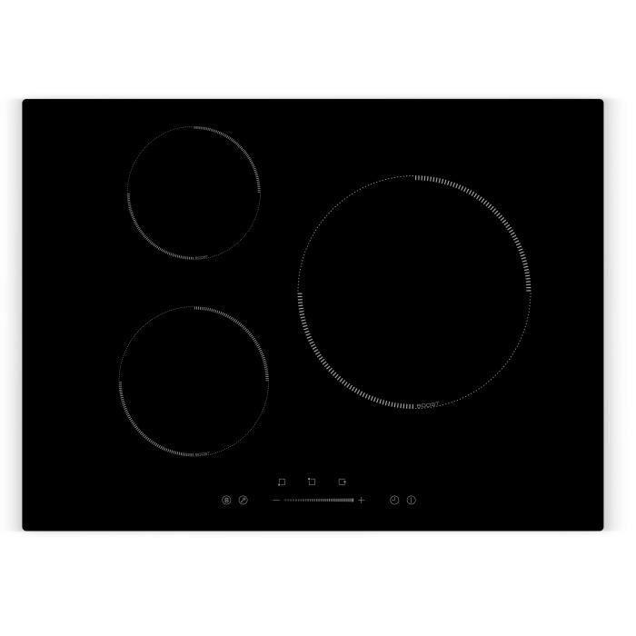 AMSTA - AMTI3Z7000 - Plaque de cuisson induction 70 cm - 3 Zones - Slider - 7000 Watts - Revêtement verre - Noir - Garantie 3 ans