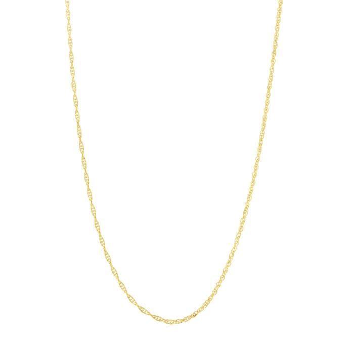 Chaine De Cou Vendue Seule Jaune des femmes 14k, blanc ou or rose 0,90mm délicat collier de chaîne corde LCHG8
