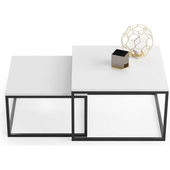 Lot de 2 tables basses gigognes TWIN design industriel BLANC