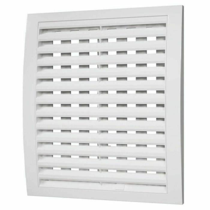 Grille de ventilation blanche avec obturateur - fermer et ouvrir - couvercle de ventilation de conduit (250 mm x 250 mm)