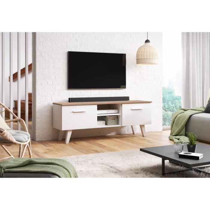 DÉCORO Meuble TV BERGEN style scandinave décor blanc mat et craft tabaco 140 cm