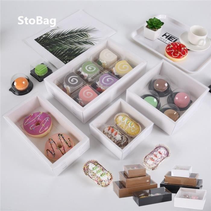 boîte en papier pour gâteaux biscuits, boîte en Carton avec couvercle Transparent, Donut chocolat, cade Black 22x12x5cm -SZ10585