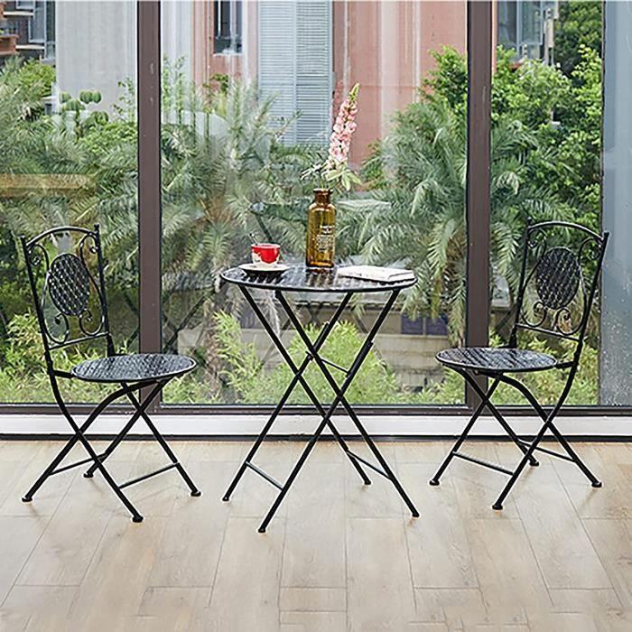 TABLE BASSE Tables en fer forg-eacute, de jardin (1 table + 2 chaises), petite table ronde pliante de style europ-eacute,en, cha234