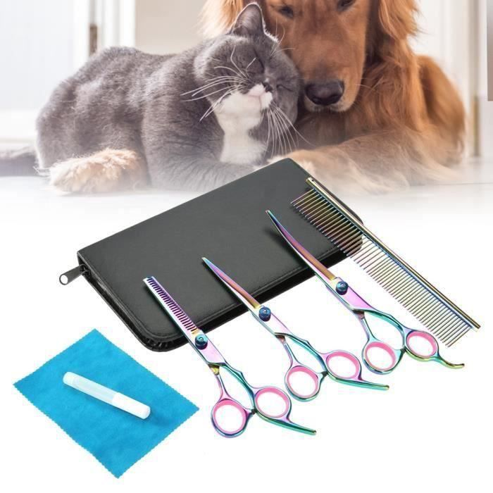 ZCS Ciseaux de coiffure Ciseaux De Coupe De Cheveux Professional Pet Chien Thinning Ciseaux Courbes Toilettage Coiffure