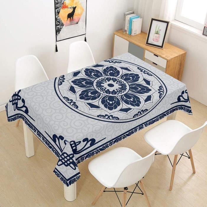 Mandala Nappe Rectangulaire Anti Tache Nappe de Table Bleu Marin 152x274cm[148]