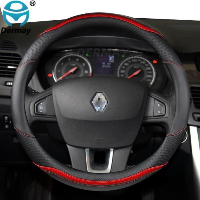 Couvre volant,Couverture de volant de voiture en cuir microfibre + Fiber de carbone, accessoires automobiles - Type O shape Red