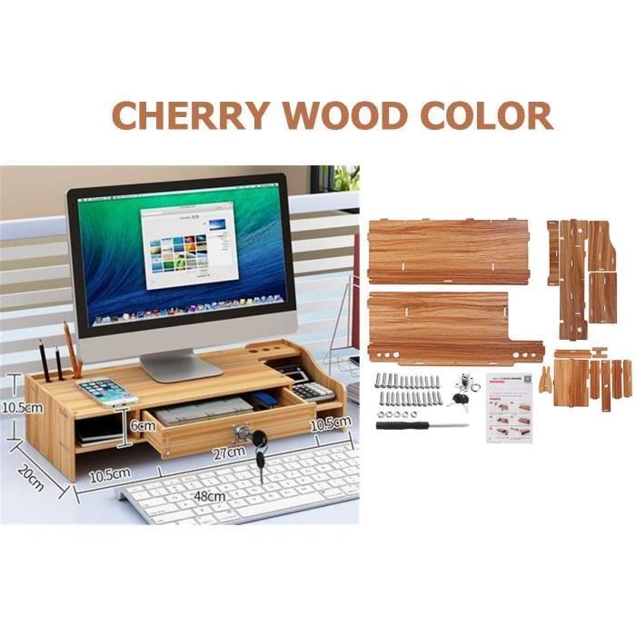 Support tablette,Étagère ordinateur portable support support bois moniteur de bureau support ordinateur écran - Type Cherry wood