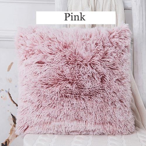 Housse de coussin,Housse s en fourrure douce,Housse de coussin en peluche,couverture s décorative - Type Pink