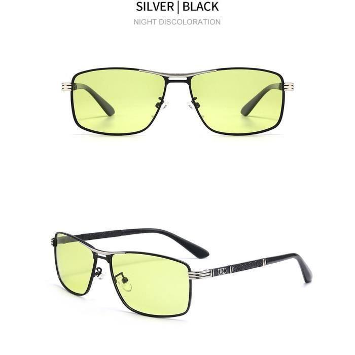 Lunettes de soleil polarisées pour hommes- Protection UV Décoloration Classique miroir conducteur Lunettes de vision nocturne MKK53