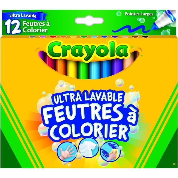 Crayola - 12 Feutres à colorier ultra lavables - boîte française - se nettoie sans frotter