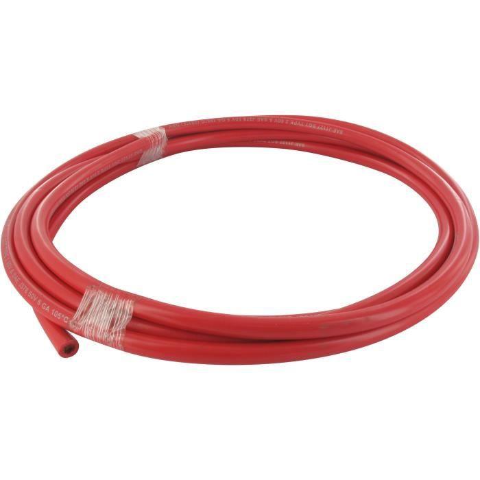 Câble batterie rouge à 6 conducteurs avec gaine poly vinyl type 2- 60V 6GA, L: 3 m, diamètre câble int: 5,5 mm, diamètre ext: 9 mm