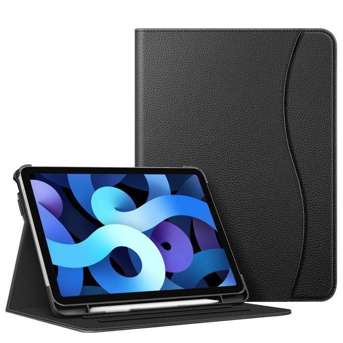 FINTIE Coque pour iPad Air 4e Generation 10.9 2020, Etui de Protection Multi Angles Housse avec Poche de Cartes Sommeil/Réveil, Noir