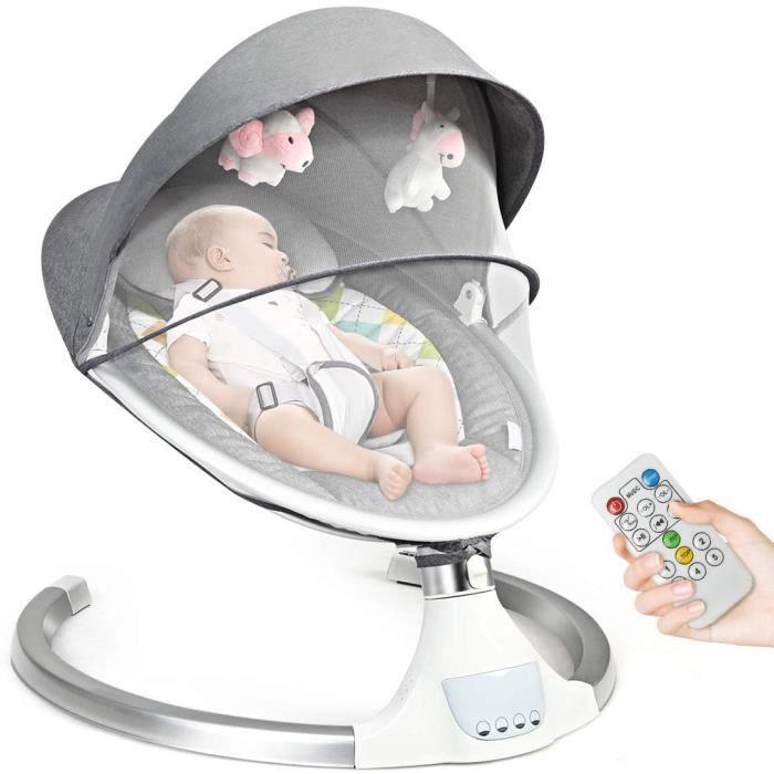 GOPLUS Balancelle Bébé Électrique Transat avec 5 Amplitudes de Vibrations et Musique,Convient aux Bébé 0 - 6 Mois Jusqu'à 9 KG,Gris