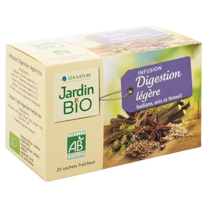 LOT DE 5 - JARDIN BIO Infusion digestion légère Badiane Anis Fenouil 20 Sachets