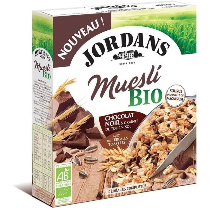 JORDANS : Muesli chocolat noir bio et graines 450 g