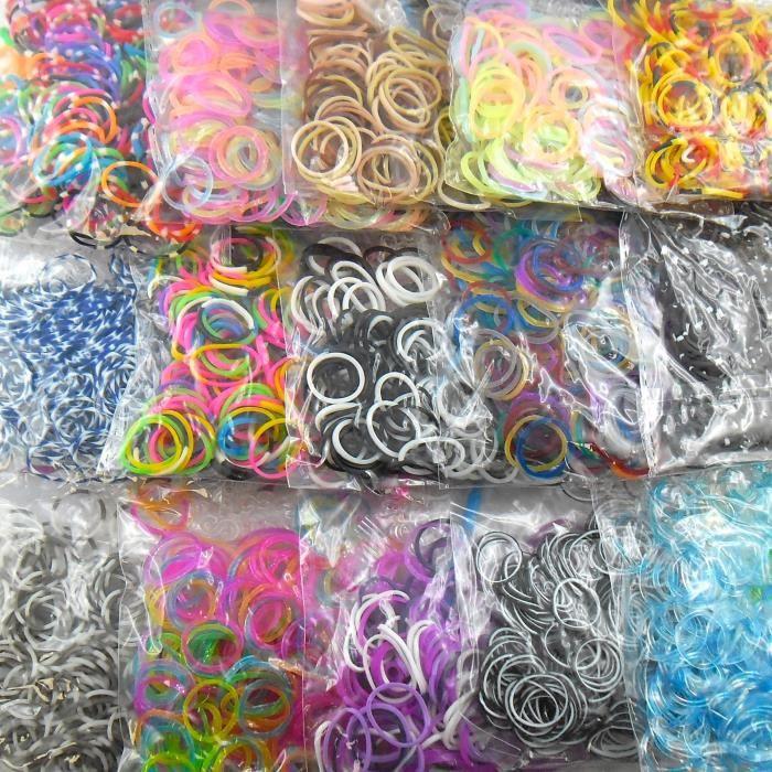 Lagiwa - Lot de 15 sachets loom bands assortis et différents de 200 élastiques chacun pour bracelet ou collier loom bands + 1 KDO