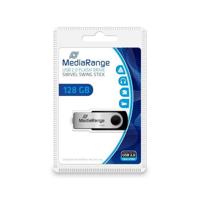 MediaRange MR913, 128 Go, 2.0, Connecteur USB Type-A, 10 Mo-s, Pivotant, Noir, Argent
