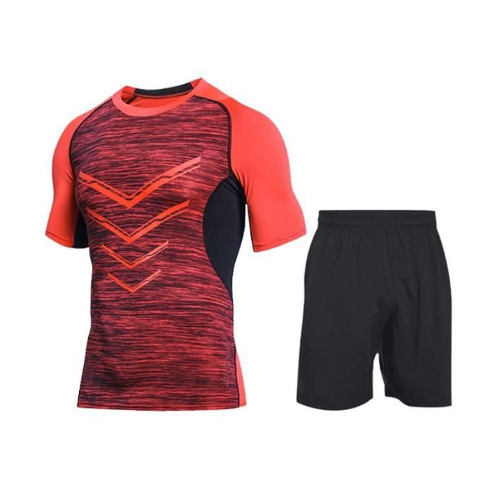 Ensemble de Vetement de Sport Homme Running Fitness T-shirt+Short