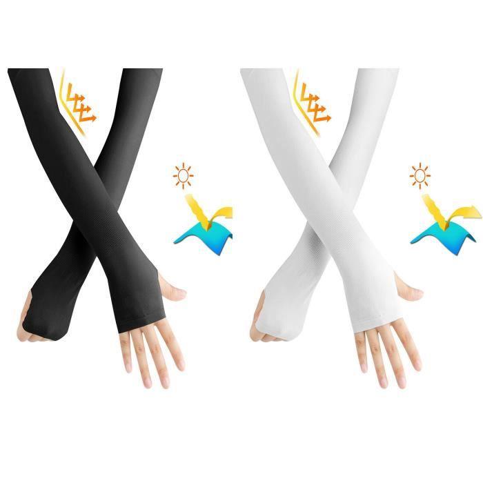 2Pc Manchettes de Bras, Soleil Bras Manches Glacé Sun UV Protection Écran Gants de Protection Conduite Activité en Dehors Adultes