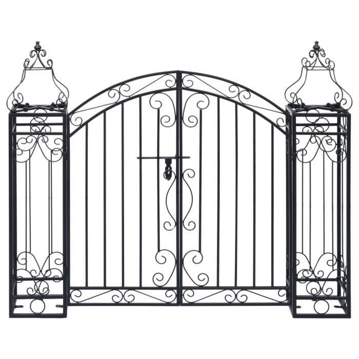 6065MGQ® Portillon ornemental de jardin Voûte de jardin Elégant-Arche de jardin-Arceau à Rosiers Pergola à appentis Fer forgé 122x20