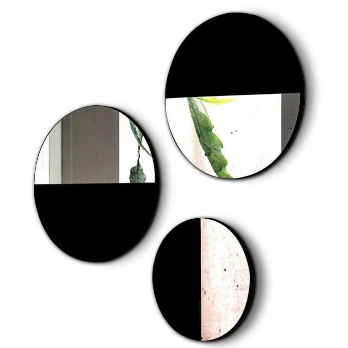 Lot de 3 miroirs ronds en bois et verre coloris Noir