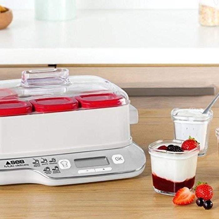 yaoutière électrique avec 5 programmes 600W blanc rouge