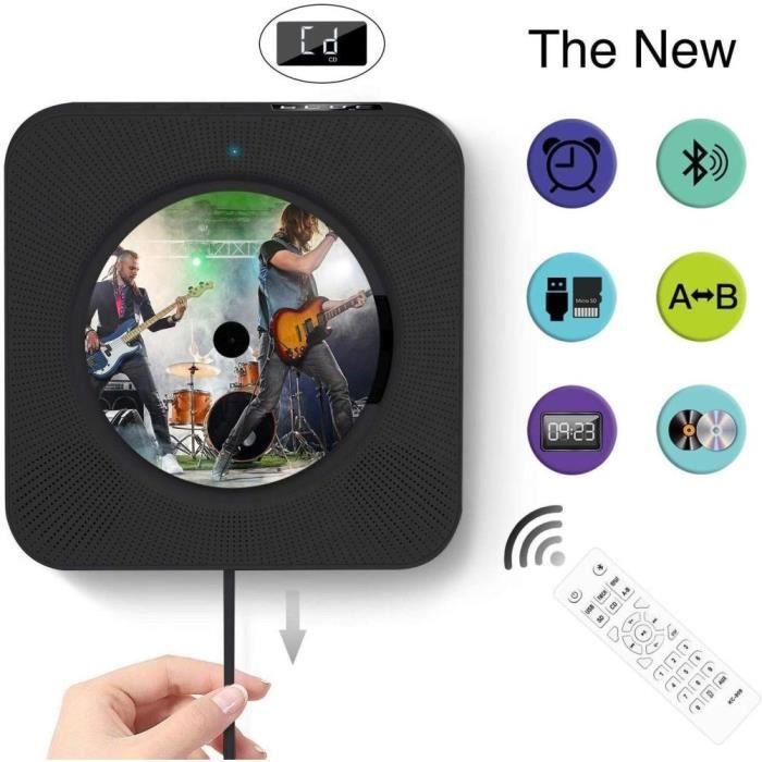 Lecteur CD Bluetooth mural avec affichage numérique -noir