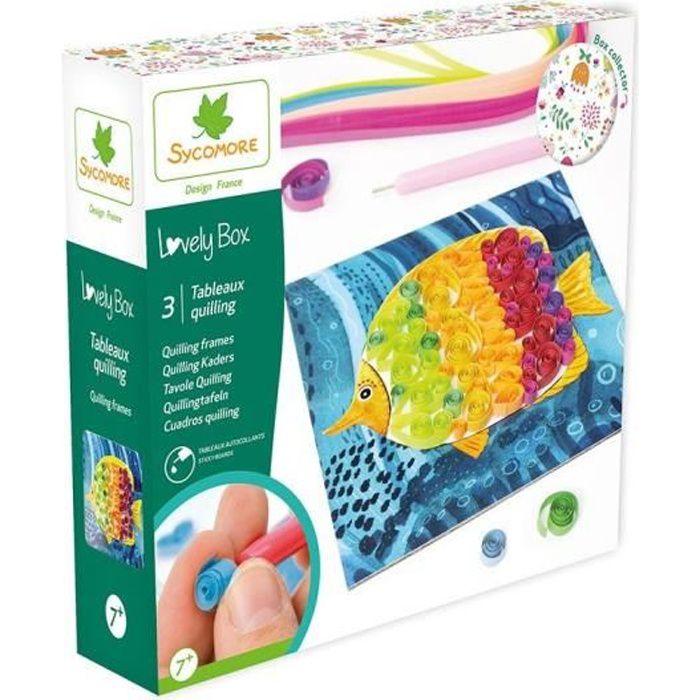 SYCOMORE Kit de loisir créatif enfant - PM Quilling - 3 tableaux - Lovely Box Collector - Dès 7 ans
