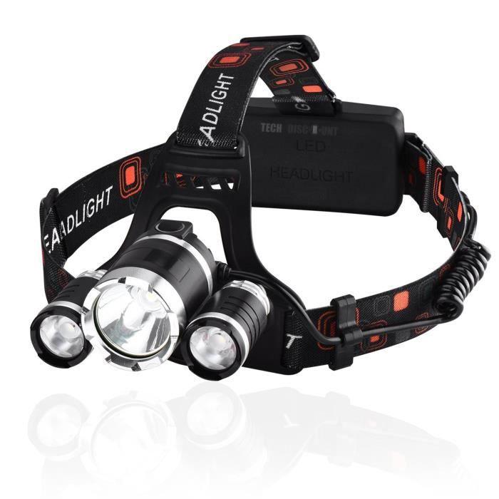 TD® Lampe frontale rechargeable puissante course à pied travaux chantier vélo 4 modes chargement USB lumière LED nuit
