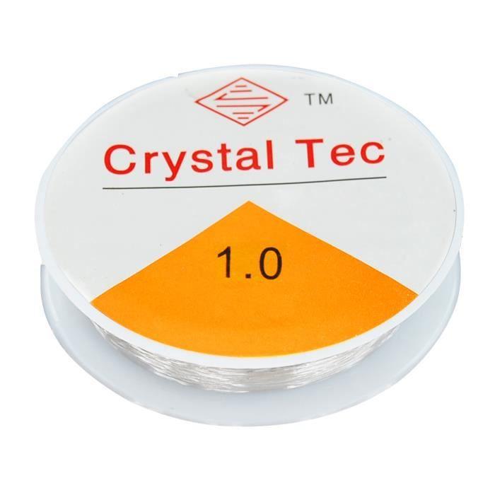 TRIXES Bobine de 8 m de fil extensible élastique transparent de 1 mm pour fabrication de bijoux en perles