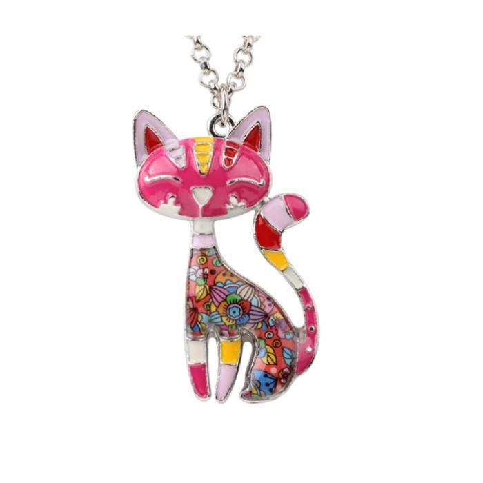 collier femme pendentif chat