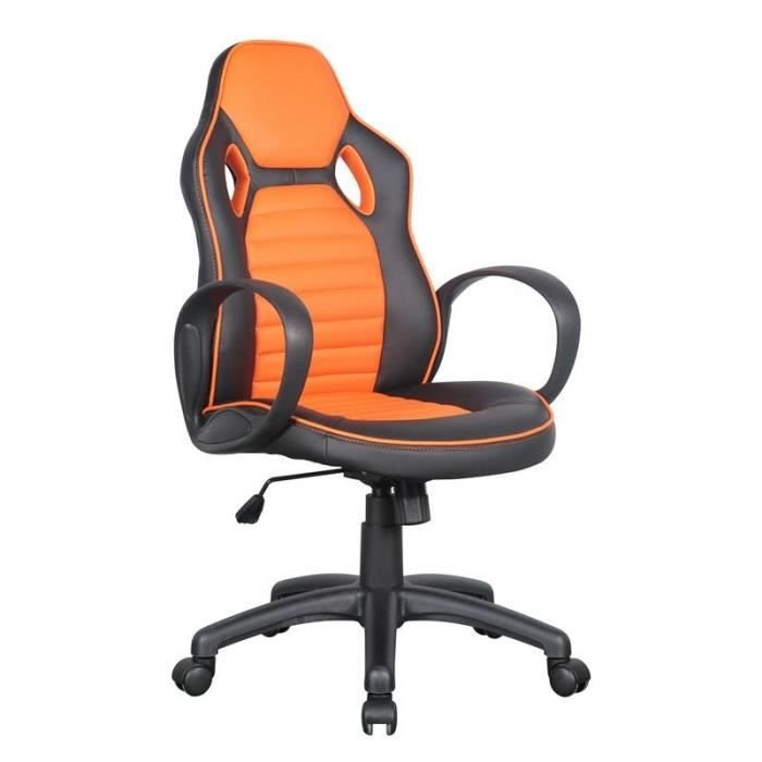 chaise de bureau racing pivotante noire orange myco01684 achat vente chaise de bureau. Black Bedroom Furniture Sets. Home Design Ideas