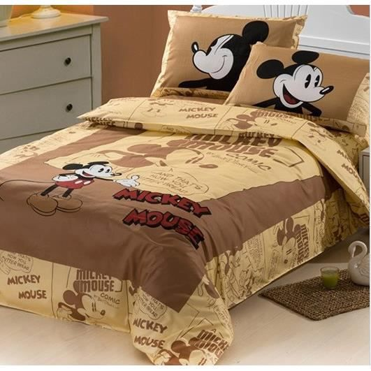 parure 3d 1 personne twin mickey mouse marron achat vente parure de lit cdiscount. Black Bedroom Furniture Sets. Home Design Ideas