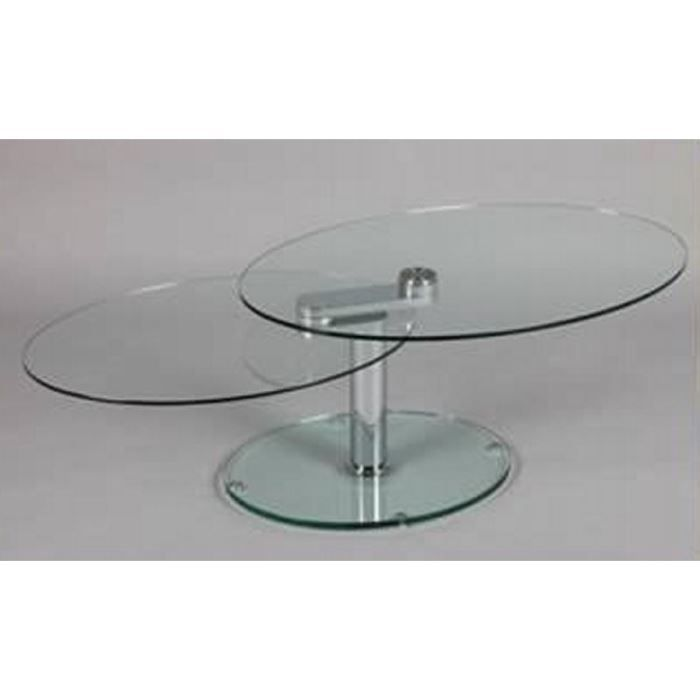 Table basse ovale verre 39 cristal 39 achat vente table basse table b - Table basse verre ovale ...