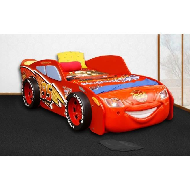 lit cars flash mcqueen rouge avec clairage led achat vente ensemble literie cdiscount. Black Bedroom Furniture Sets. Home Design Ideas