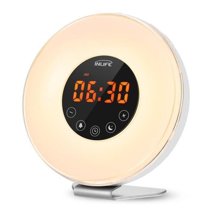 Wake Up Light,Horloge Num/érique Avec Radio Fm R/éveil Lumineux R/éveil Lumineux 6 Sons De La Nature Snooze Function Touch Control