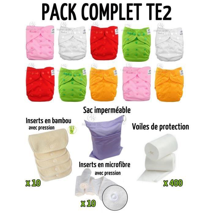 tons roses inserts voiles sac imperm/éable Pack complet : lot de 10 couches lavables TE2 Maman et bb Nature