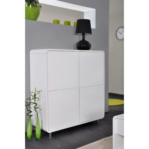 meuble de rangement design seattle blanc laqu achat vente vitrine argentier meuble de. Black Bedroom Furniture Sets. Home Design Ideas