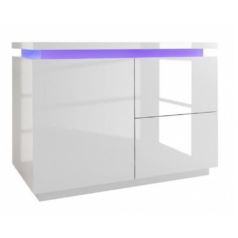 Commode a led blanc laque 1 porte 2 tiroirs cameleon 110 Commode blanc laque
