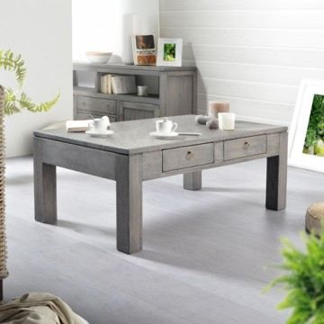 Table de salon en pin gris bello 100x60 achat vente table basse table de - Table basse exotique pas cher ...