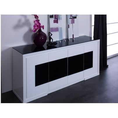 buffet kibo mdf laqu blanc noir verre tr achat. Black Bedroom Furniture Sets. Home Design Ideas
