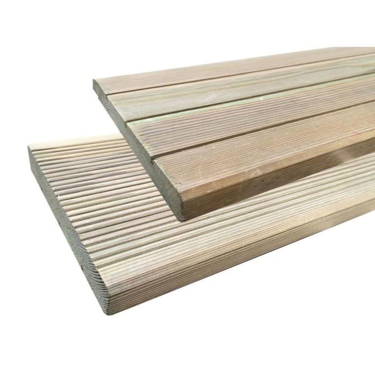 Lames De Terrasse Bois lames de terrasse en bois autoclave - 15.24 m²