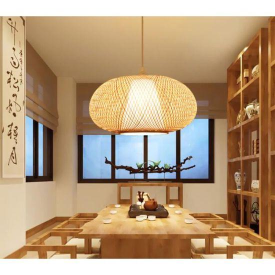 Creatif Lustre Salle A Manger Moderne Japonais Lampe En Bambou Tricote A La Main Luminaire Suspension Led Restaurant Chambre 35 18cm