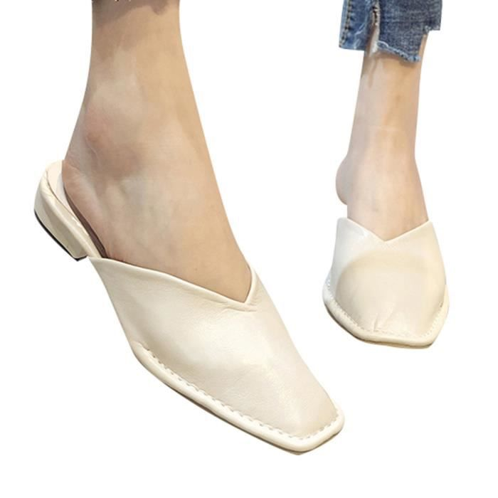 Women's Summer Home Household Sandals Fashion Lazy Slippers Indoor Ladies' Shoes Beige