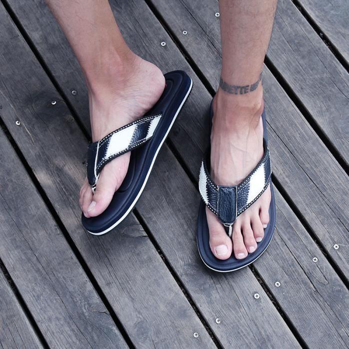 Casual Mode d'été TONG Hommes Paresseux Plage Flip-Flops Chaussures  DTG-xinxian540259Bleu